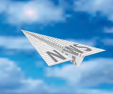 Illustration pour paper plane on cloudy sky - image libre de droit