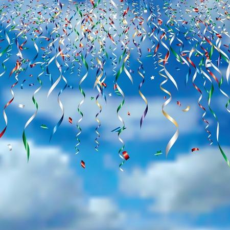Ilustración de falling confetti in clouds - Imagen libre de derechos