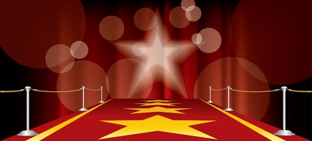 horizontal entertainment background with red carpet and yellow stars