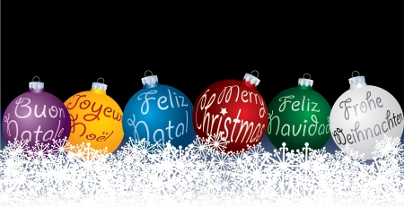 vector blue Christmas balls in six languages