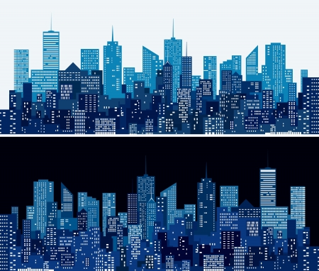 city skylines in two blue versions