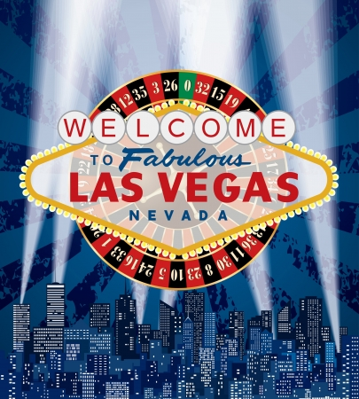 Las Vegas sign with roulette over the city