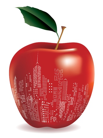 Abstract red apple New York sign