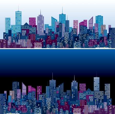 city skylines in two purple and blue color versions