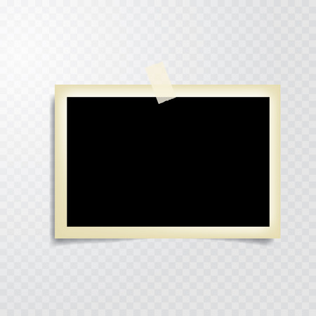Illustration for taped vintage photo frame with transparent shadow - Royalty Free Image