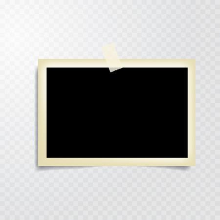Illustration pour taped vintage photo frame with transparent shadow - image libre de droit