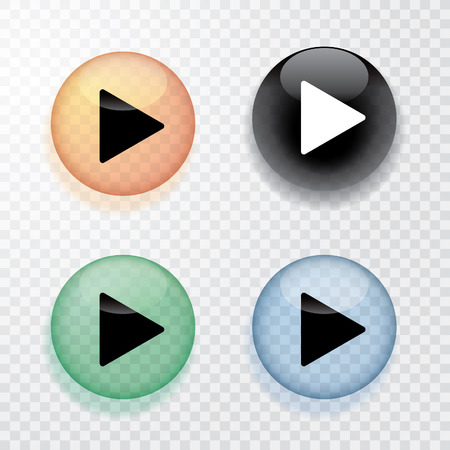 Illustration for collection of four transparent play buttons with shadow - Royalty Free Image