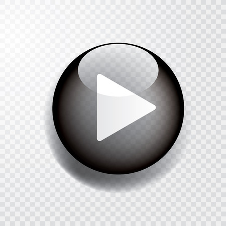 black transparent play button with shadow, icon