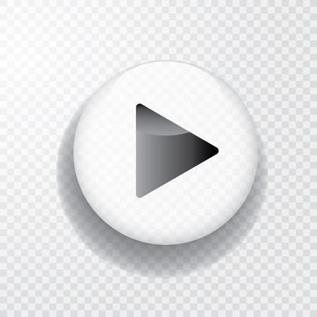white transparent play button with shadow, icon