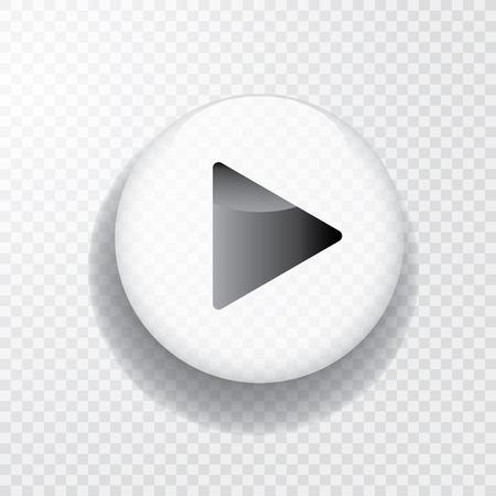 Illustration pour white transparent play button with shadow, icon - image libre de droit