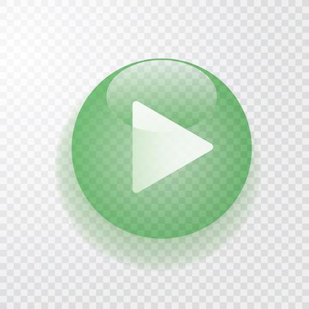 Illustration pour green transparent play button with shadow, icon - image libre de droit