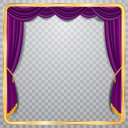 Illustration pour stage with purple curtain, golden frame and transparent shadow, blank background, layered and fully editable - image libre de droit