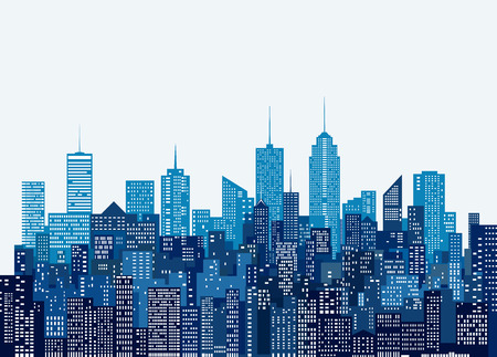 Illustration pour white windows abstract city skylines, blue color cityscape background, editable and layered - image libre de droit