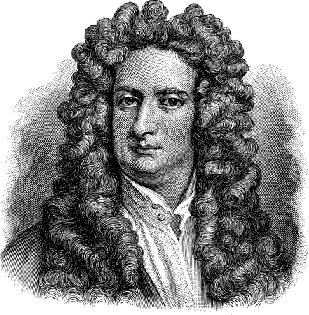 Illustration pour Old illustration of Isaac Newton, engraving is from Meyers Lexicon. - image libre de droit