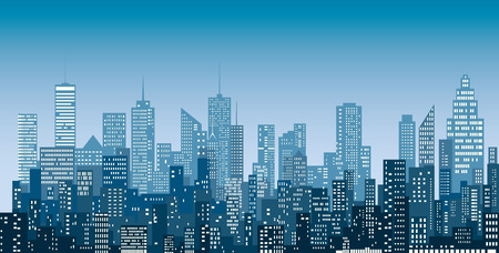 Illustration pour White windows abstract city skylines, blue color cityscape background, editable and layered. - image libre de droit