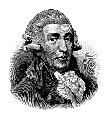 Illustration pour vectorized old engraving of Joseph Haydn, engraving is from Meyers Lexicon published 1914 - image libre de droit