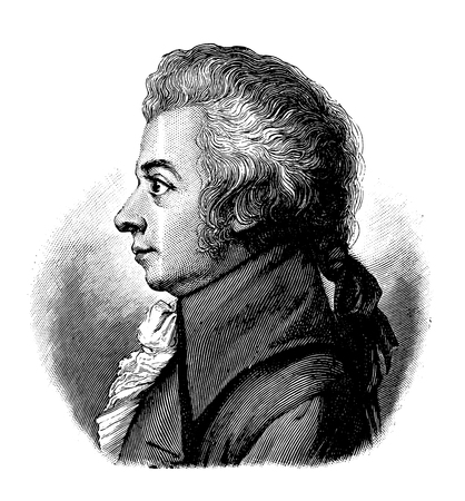 Illustration pour vectorized old engraving of Wolfgang Amadeus Mozart, engraving is from Meyers Lexicon published 1914 - image libre de droit