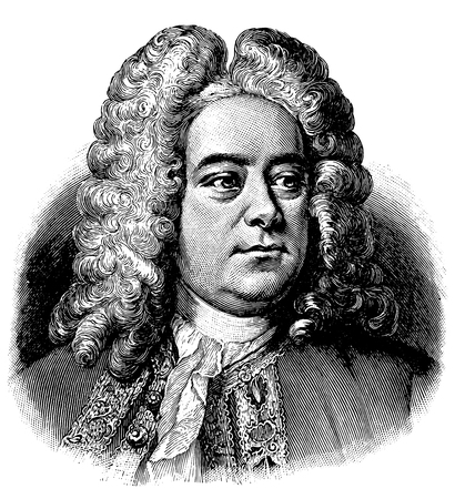 Illustration pour vectorized old engraving of Georg Friedrich Handel, engraving is from Meyers Lexicon published 1914 - image libre de droit