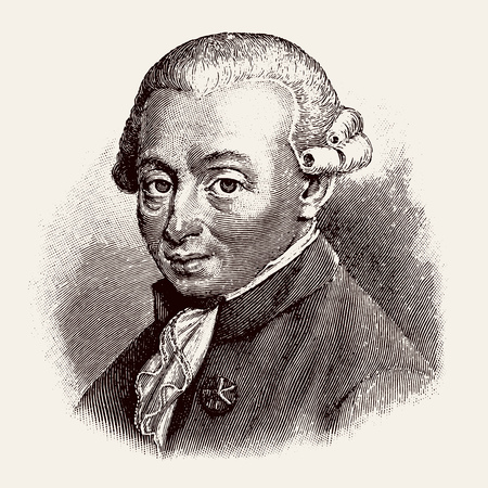 Illustration pour vectorized old engraving of Immanuel Kant, engraving is from Meyers Lexicon published 1914 - Leipzig, Deutschland - image libre de droit