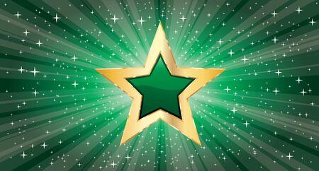 Illustration pour vector golden star on green star burst - image libre de droit