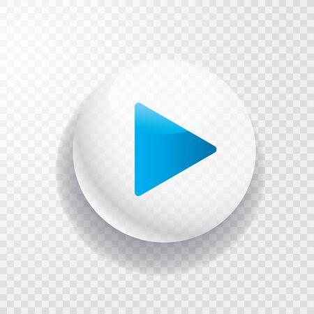 Illustration pour white transparent play button with blue arrow - image libre de droit