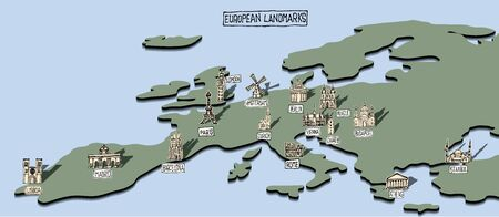 Ilustración de European landmarks on simple map with doodle drawings - Imagen libre de derechos