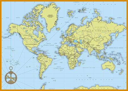 Illustration pour Highly detailed political world map with capitals, rivers,  separated layers. Vector illustration. - image libre de droit