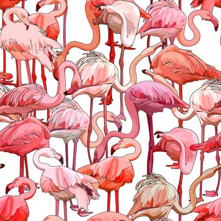 Illustration pour Seamless background with flamingos. Vector illustration, EPS 10 - image libre de droit