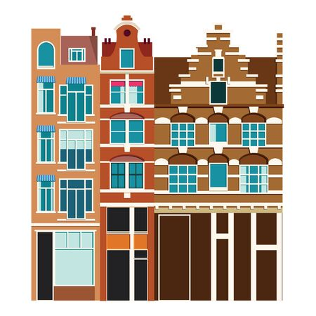 Photo pour Traditional architecture of Netherlands. Historic buildings city town, Amsterdam panorama, Holland. Vector illustration, EPS 10. - image libre de droit