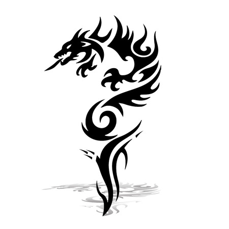 Ilustración de Black Dragon  Silhouette on white background, vector for printing. - Imagen libre de derechos