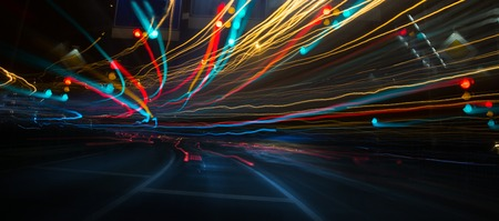 Traffic lights and cars, long exposure in motion