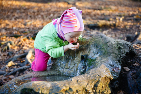 Adorable, thirsty little girl drinking clean spring water from a source in a forest
