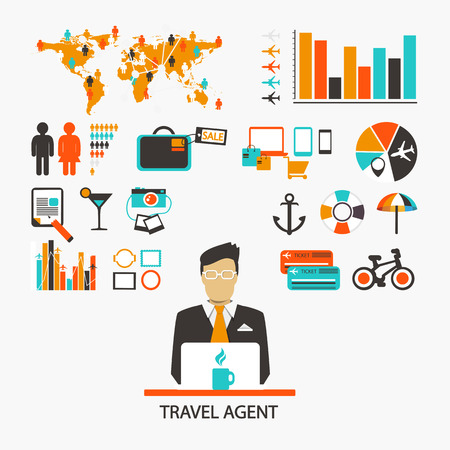 Travel agent. Infographic. Set of elements and icons