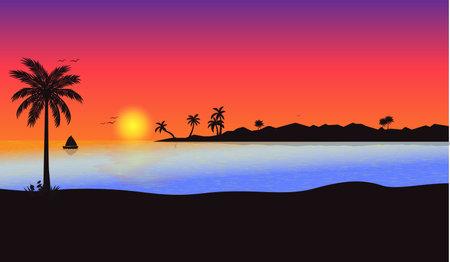 Illustration pour beautiful sunset beach orange color sea water landscape view vector - image libre de droit