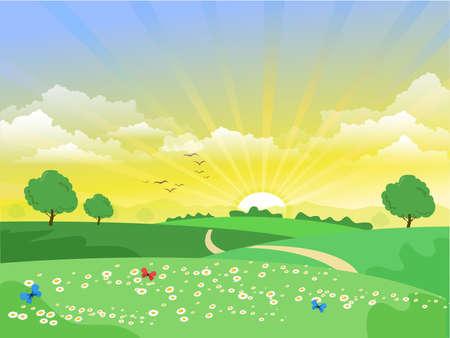 Illustration pour beautiful sunrise landscape green trees flower butterflies vector - image libre de droit