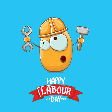 Illustration for International workers day or labour day greeting card . vector funny cartoon brown smiling worker potato with engineer helmet holding hummer and wrench isolated on blue background. Mayday poster - Royalty Free Image
