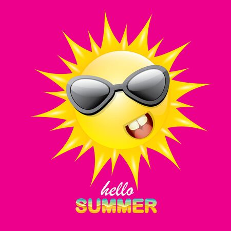 Illustration for vector hello summer creative label with smiling shiny sun isolated on pink background. summer party background with funky sun character design template. vector summer icon - Royalty Free Image
