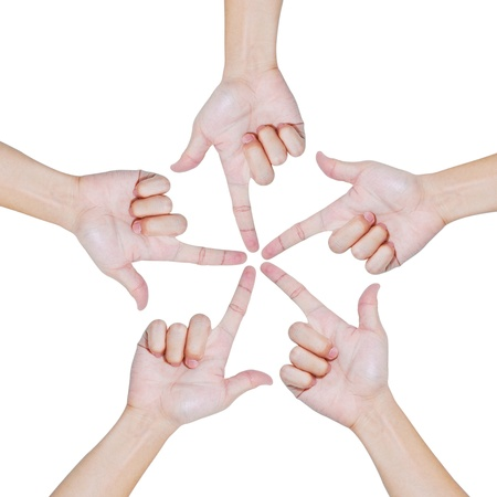 Photo for Hands of teamwork , conceptual style , focus to the one point - Royalty Free Image