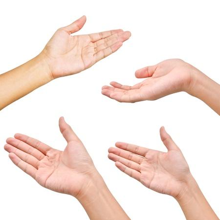 Foto de Variety of hands in different poses on white background - Imagen libre de derechos