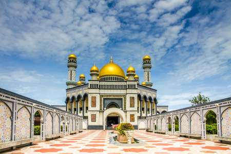 Beautiful View of Jame Asr Hassanil Bolkiah Mosque with Courtyard in Front - Bandar Seri Begawan, Brunei, Southeast Asia