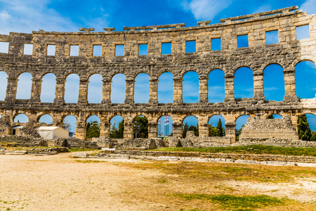Beautiful View Of Roman Amphitheatre Pula Arena During Summer Day - Pula, Istria, Croatia, Europe