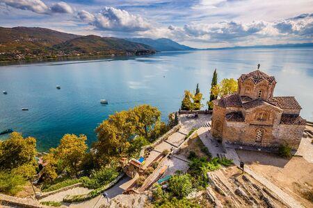 Photo for Church of St. John at Kaneo Overlooking Ohrid Lake - Ohrid, Macedonia, Europe - Royalty Free Image