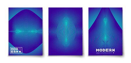 Illustration pour Minimal vector geometric abstract elements texture covers design set mockup. Line figures with  halftone gradients - image libre de droit
