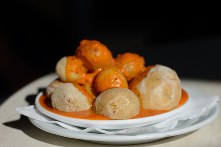Canarian Salt Wrinkled Potatoes Papas Arrugadas with spicy red pepper sauce mojo rojo