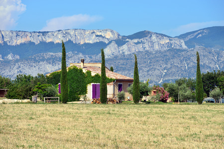 Stunning landscape with  field and old farmhouse at evening  Plateau of Valensole, Provence, France