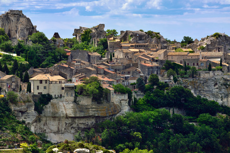 Les Baux de Provence village on the rock formation and its castle. France, Europe.
