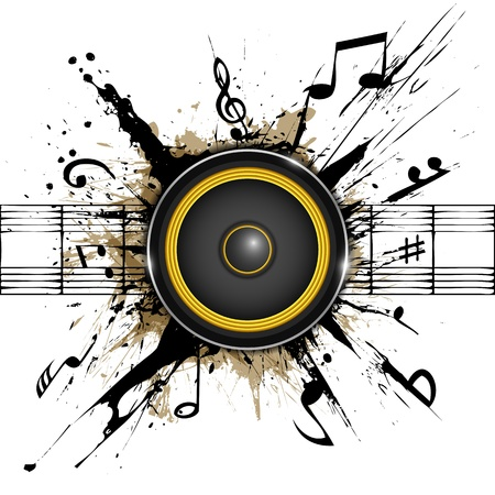 Abstract background  Sound speaker on ink stains  Part of music set