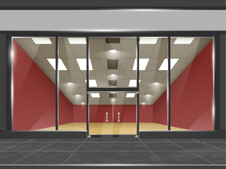 Shop with glass windows and doors, front view  Part of set  Vector exterior