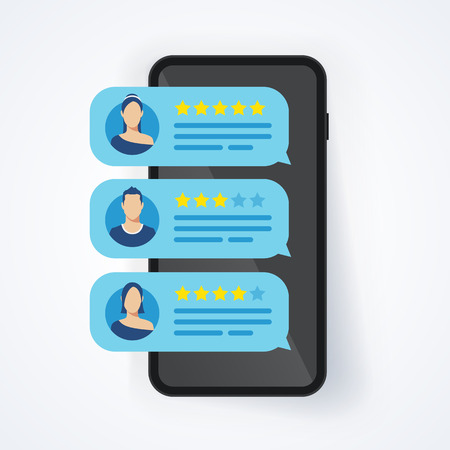 Illustration pour Vector illustration feedback review rating stars bubble speck on mobile phone, smartphone with good and bad rate - image libre de droit