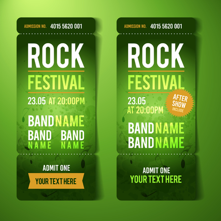 vector rock festival ticket design template with grunge